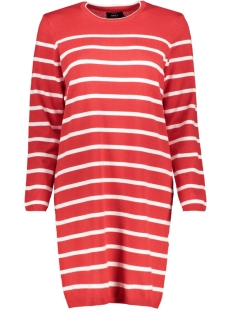 Only Jurk onlAYO L/S DRESS KNT 15171590 Mars Red/W. CLOUD DANCER