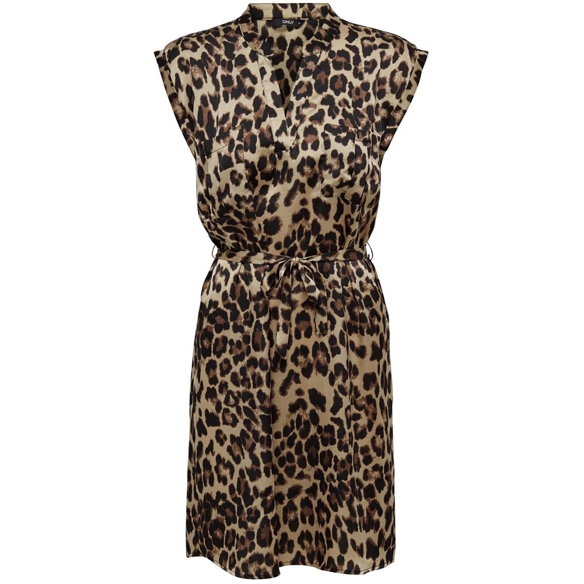 onllulu leo s/s belt dress wvn 15179998 only jurk black/leo