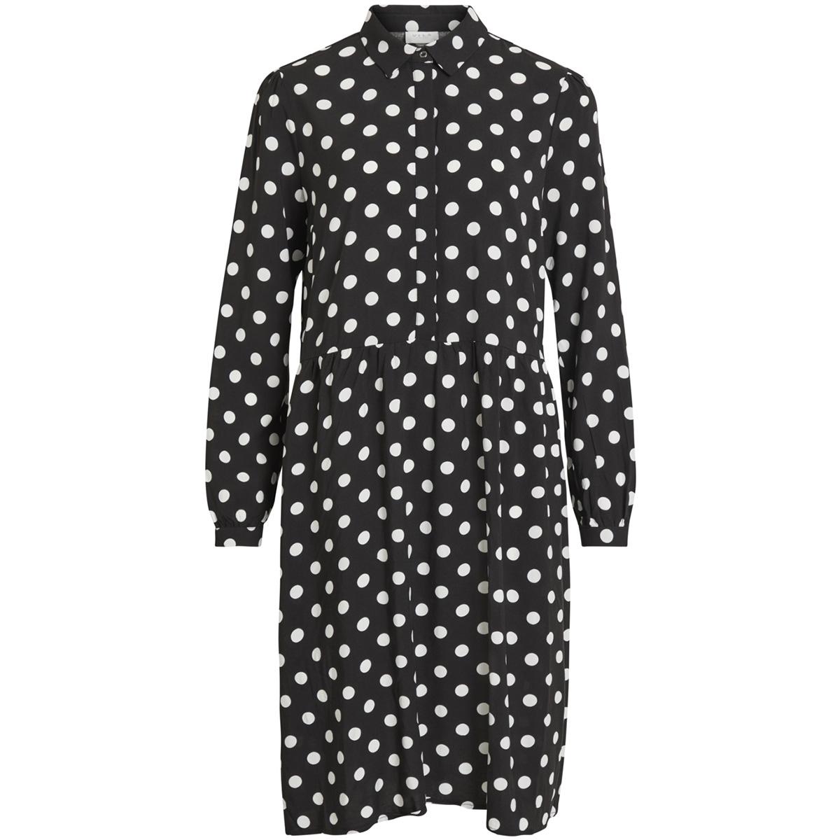 vidotla l/s midi dress 14052702 vila jurk black/ cloud dancer