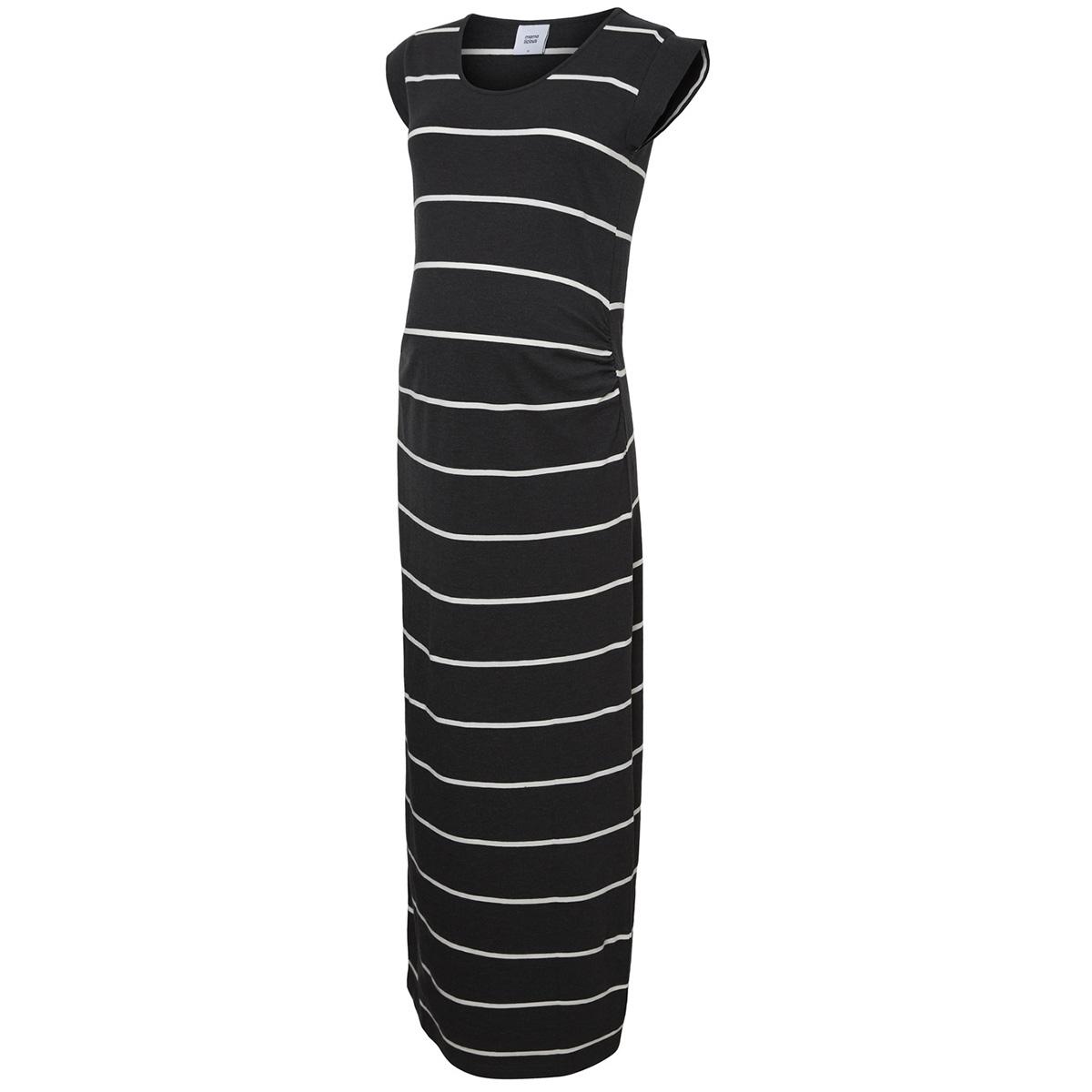 mlally s/s jersey maxi dress a. o. 20009953 mama-licious positie jurk dark grey melan/ snow white