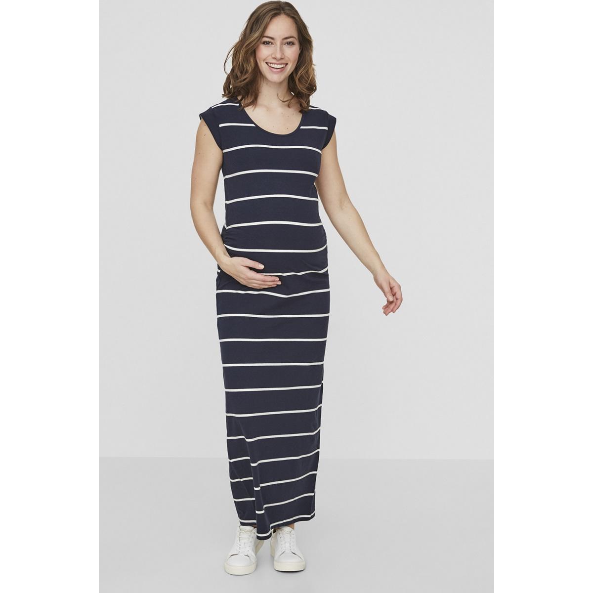 mlally s/s jersey maxi dress a. o. 20009953 mama-licious positie jurk navy blazer/ snow white