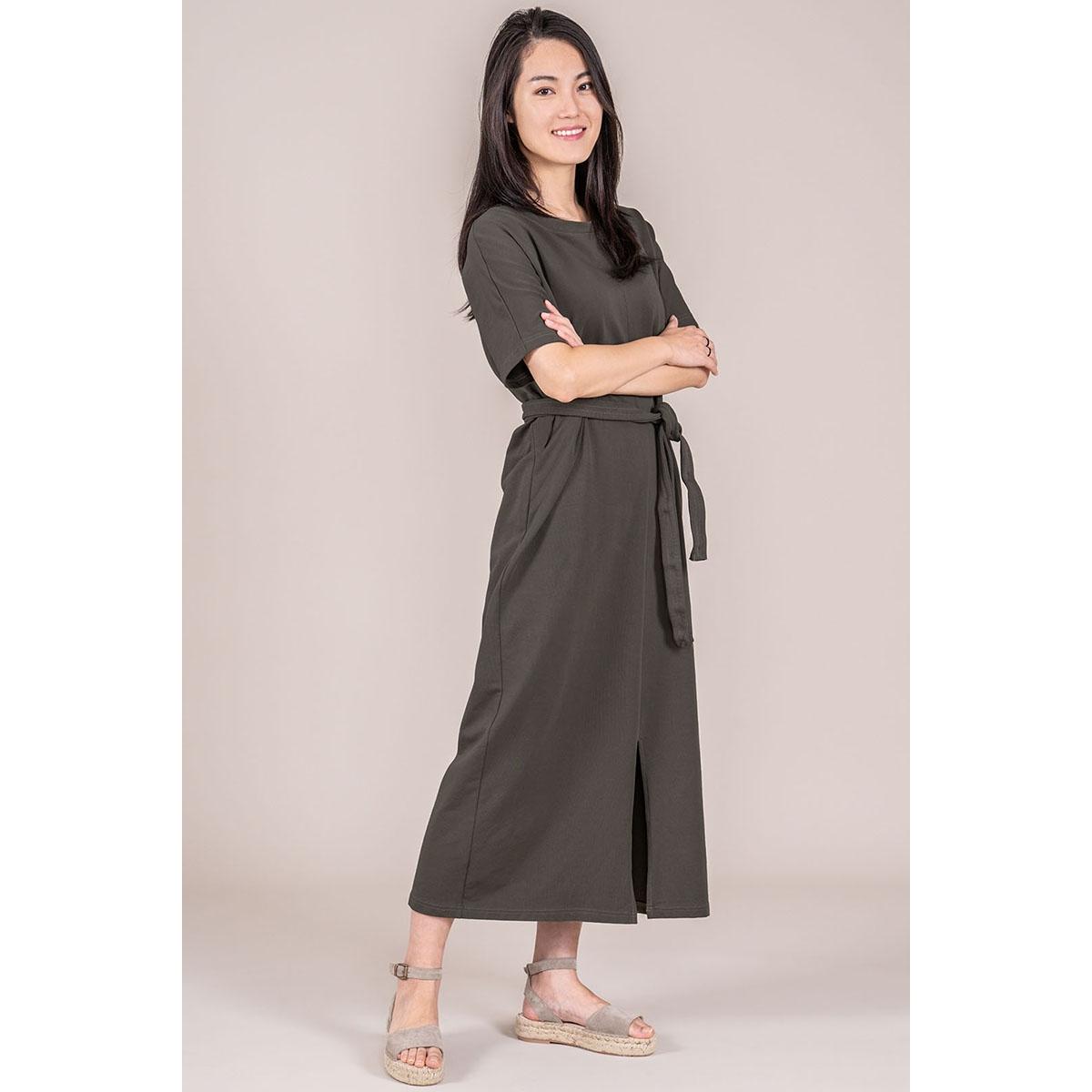 03lj19vagg hippe lange jurk zusss jurk agg grijs-groen