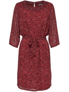 Only Jurk onlSTAR 3/4 CHIFFON DRESS WVN 15173849 Flame Scarlet/STAR LEO