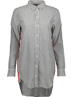 Only Blouse onlMANDY STRIPE TAPE DNM LONG SHIRT 15176756 Black/ Red Ribbon