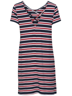 Only Jurk ONLBERA BACK LACE UP S/S DRESS JRS 15131237 Cloud Dancer/RED AND BLUE