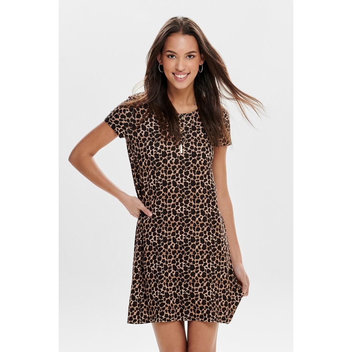 onlbera back lace up s/s dress jrs 15131237 only jurk black/leo print
