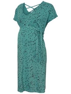 Mama-Licious Positie jurk MLQUINN S/S JERSEY ABK DRESS A. 20009650 Biscay Bay/BLACK