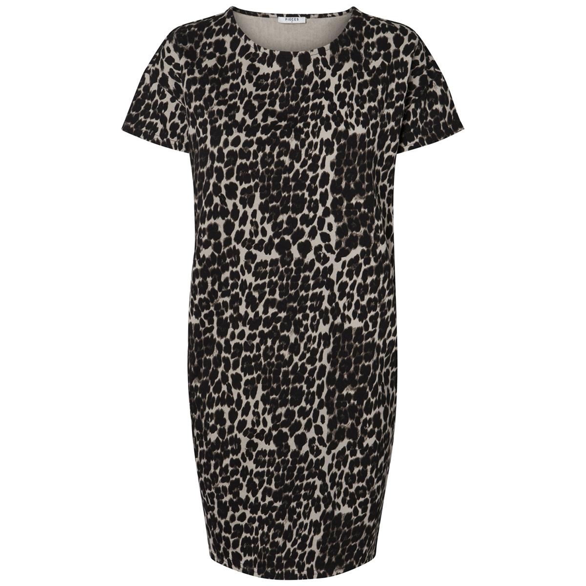 pcbibib ss sweat dress 17092648 pieces jurk black/leo