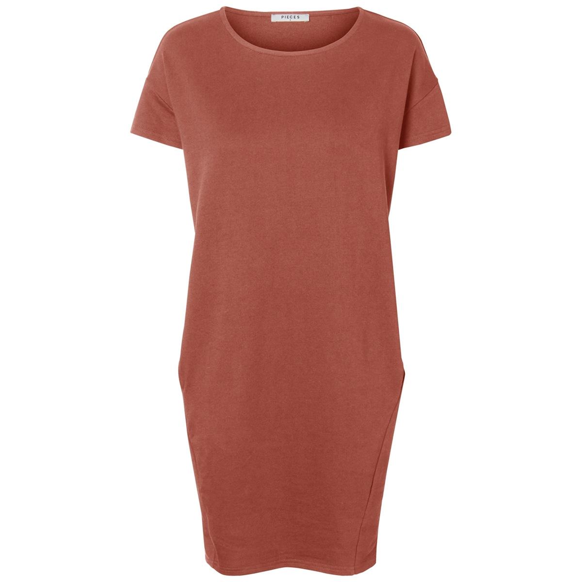 pcbibib ss sweat dress 17092648 pieces jurk redwood