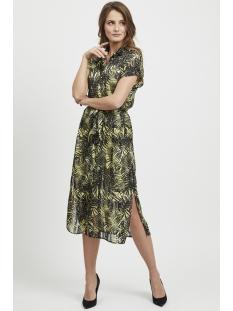 objpalm s/s midi dress 102 23028818 object jurk elfin yellow/elfin yellow