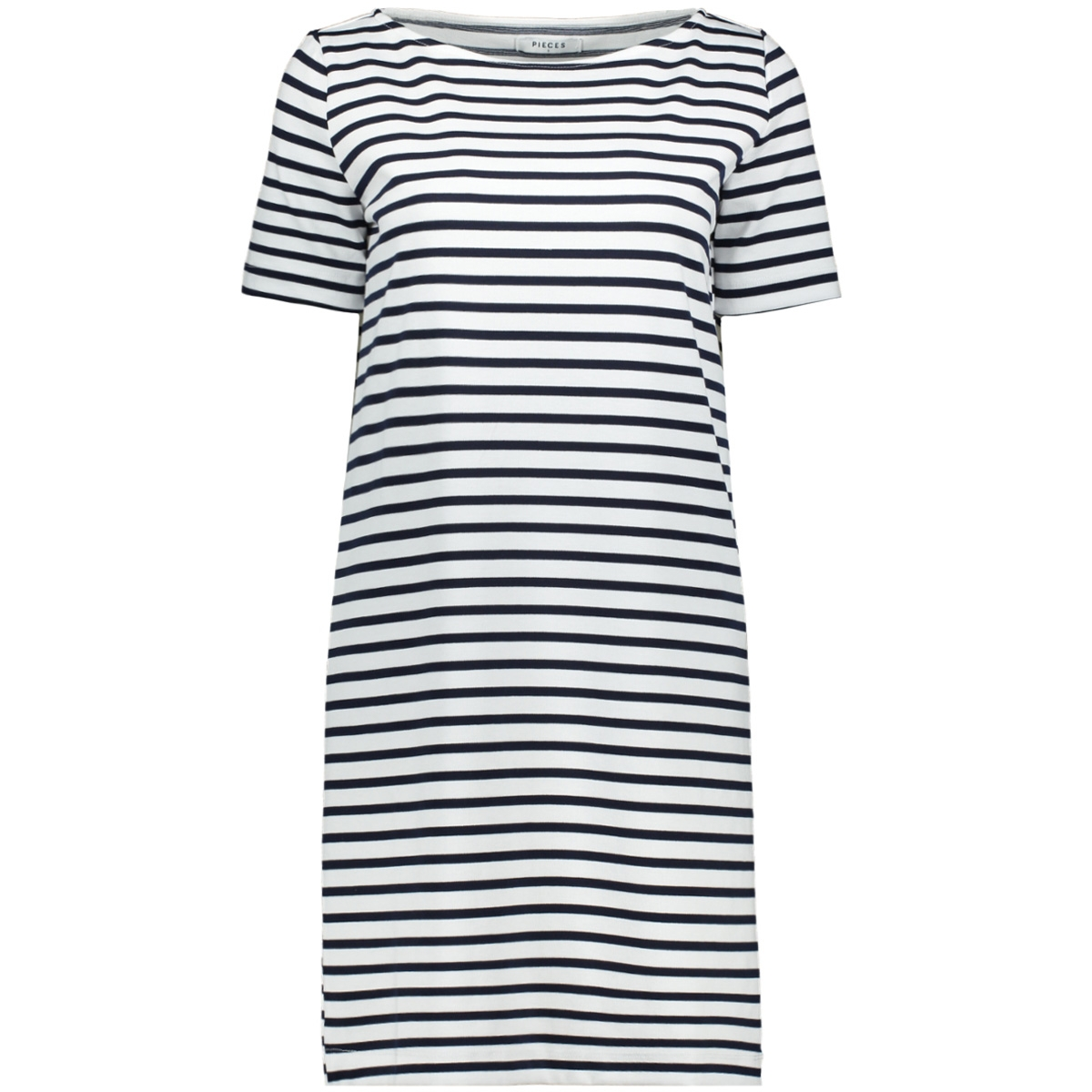 pcingrid ss dress noos 17089195 pieces jurk bright white/maritime blue