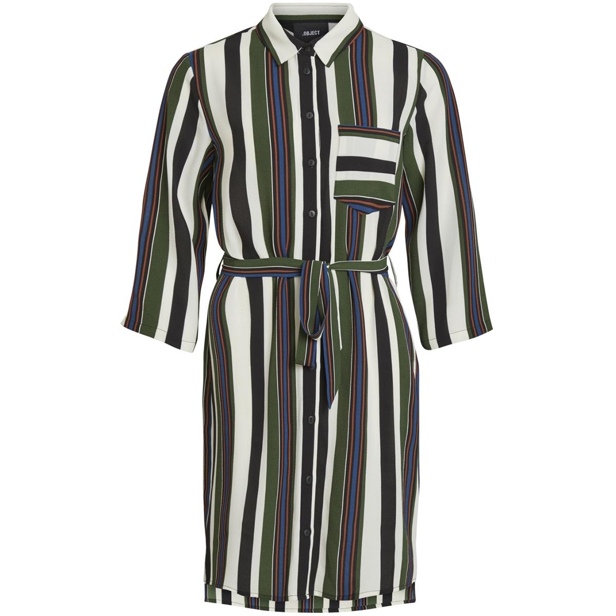 objtess karen 3/4 shirt dress rep 23027228 object jurk black/black forest