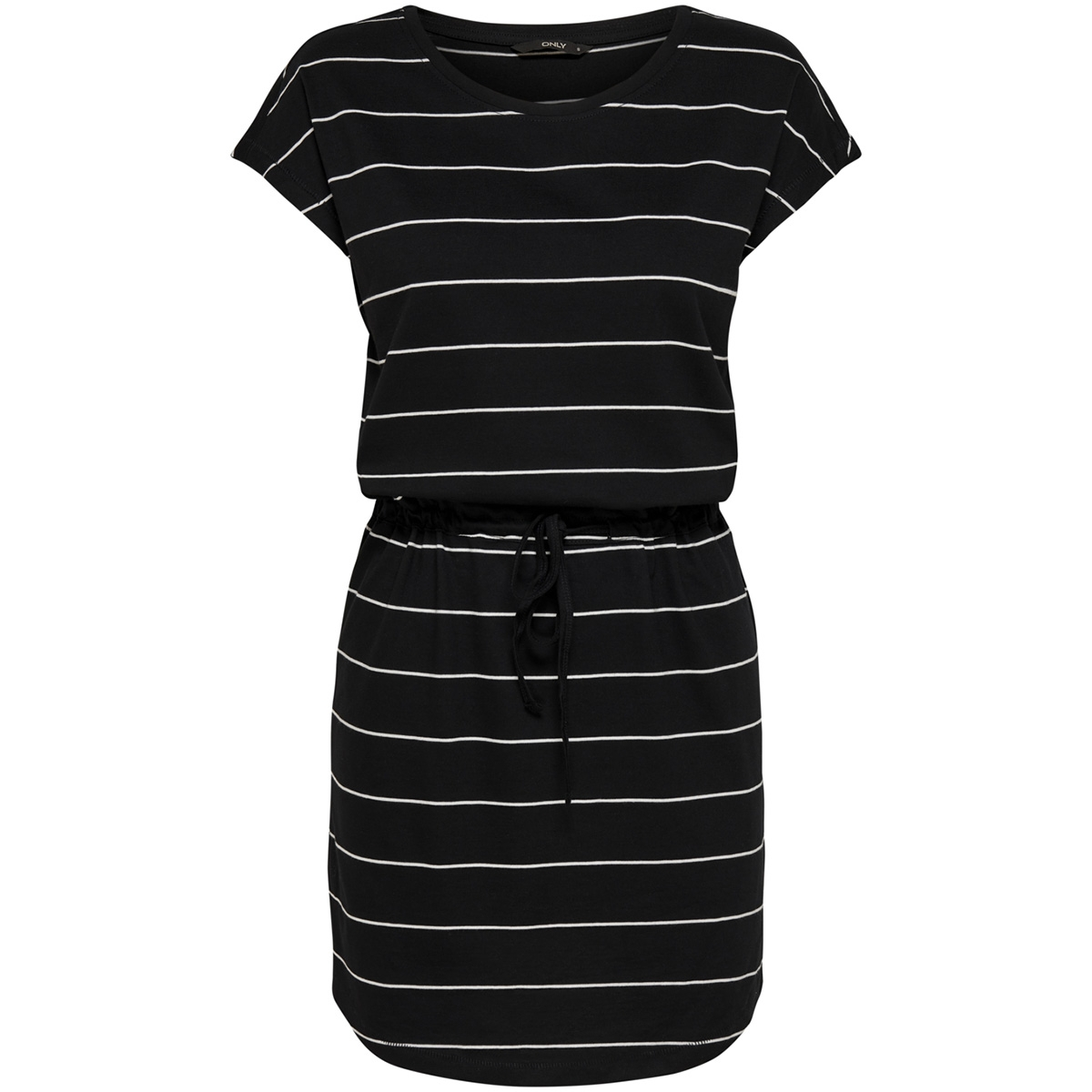 onlmay s/s dress noos 15153021 only jurk black/thin stripe