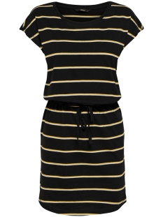 onlmay s/s dress noos 15153021 only jurk black/double yolk