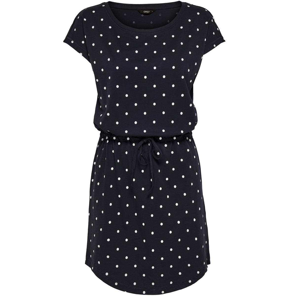 onlmay s/s dress noos 15153021 only jurk night sky/dots cloud dancer