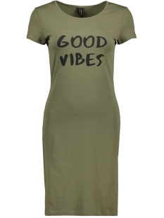 Vero Moda Jurk VMJACINTA SS SHORT DRESS COLOR 10186368 Ivy green/ Good Vibes