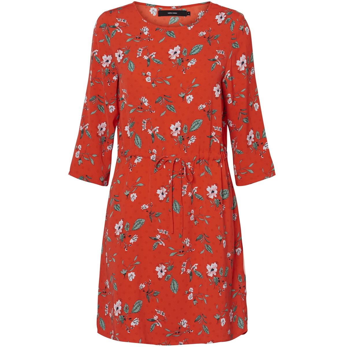 vmava 3/4 short dress wvn 10212297 vero moda jurk fiery red/ ava print
