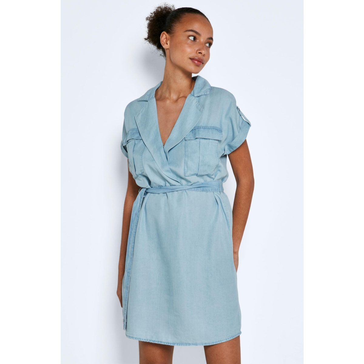 nmvera s/s endi tencel shirt dress 27005660 noisy may jurk light blue denim