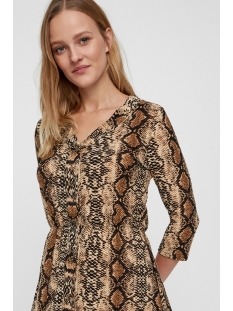 nmsally 3/4 sleeve short dress x4 27007749 noisy may jurk black/brown colored