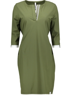 Zoso Jurk TRAVEL DRESS WITH PIPING HR1930 ARMY/OFF WHITE