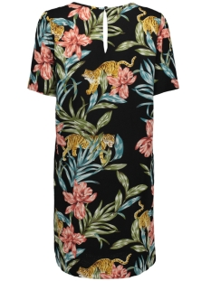 onlnova lux s/s tee  dress aop 5 wv 15177715 only jurk black/jungle zoo