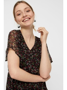 vmwonda s/s short dress pi 10217165 vero moda jurk black/petra