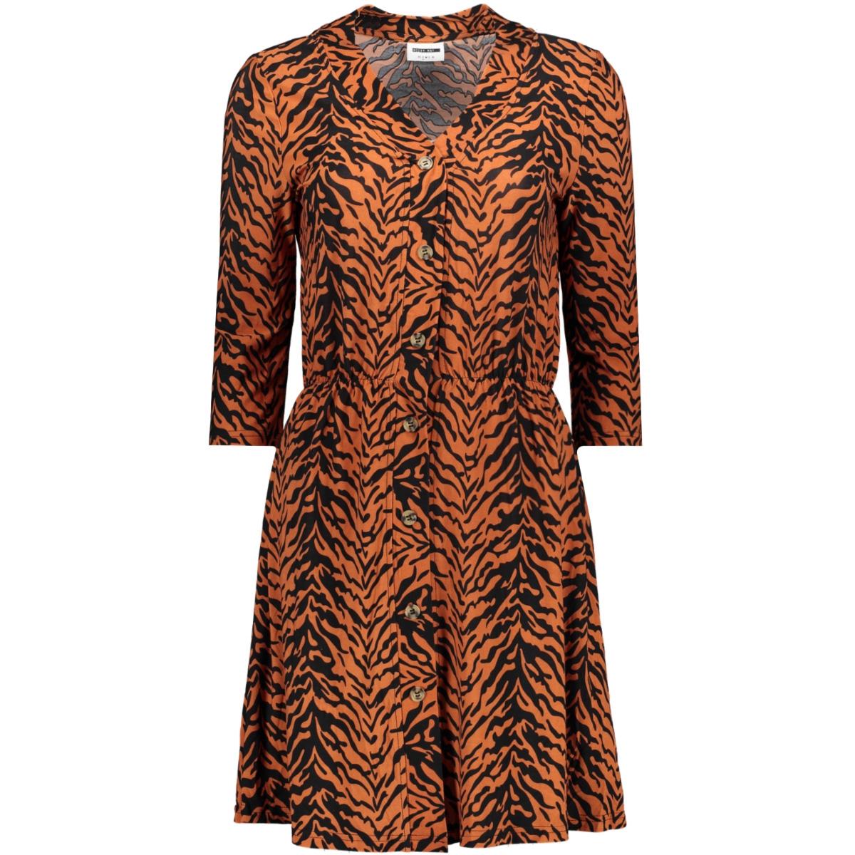 nmsally 3/4 sleeve short dress x4 27007749 noisy may jurk black/auburn/black