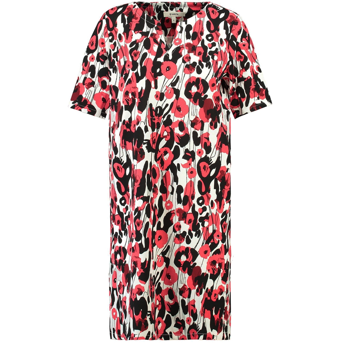 c08c26e28ea827 rode jurk met all over print d90286 garcia jurk 3363 tomato puree