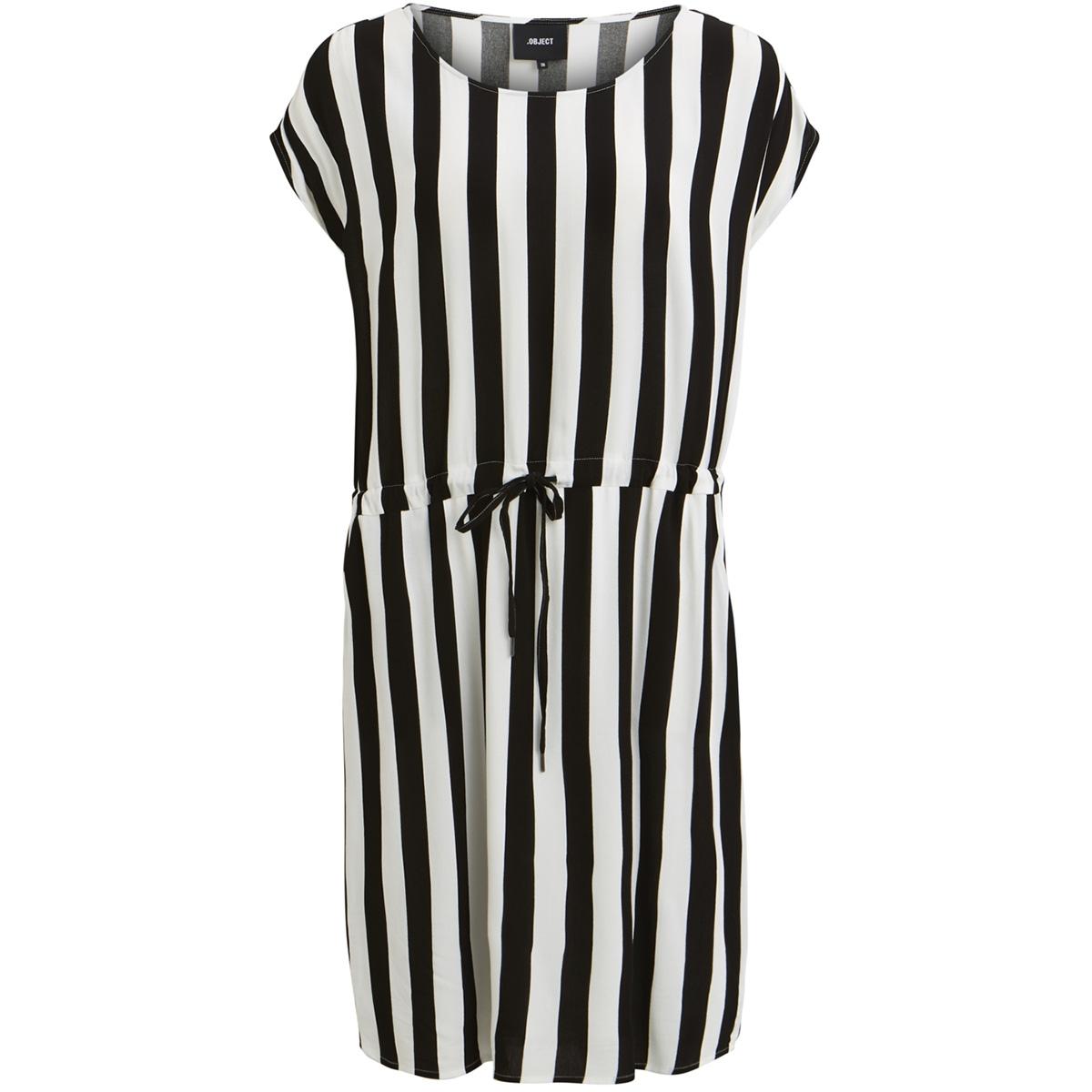 objbay dallas s/s dress aop  season 23029254 object jurk black/w/ white stripes