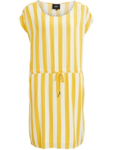 Object Jurk OBJBAY DALLAS S/S DRESS AOP  SEASON 23029254 Maize/W. WHITE STRIPES