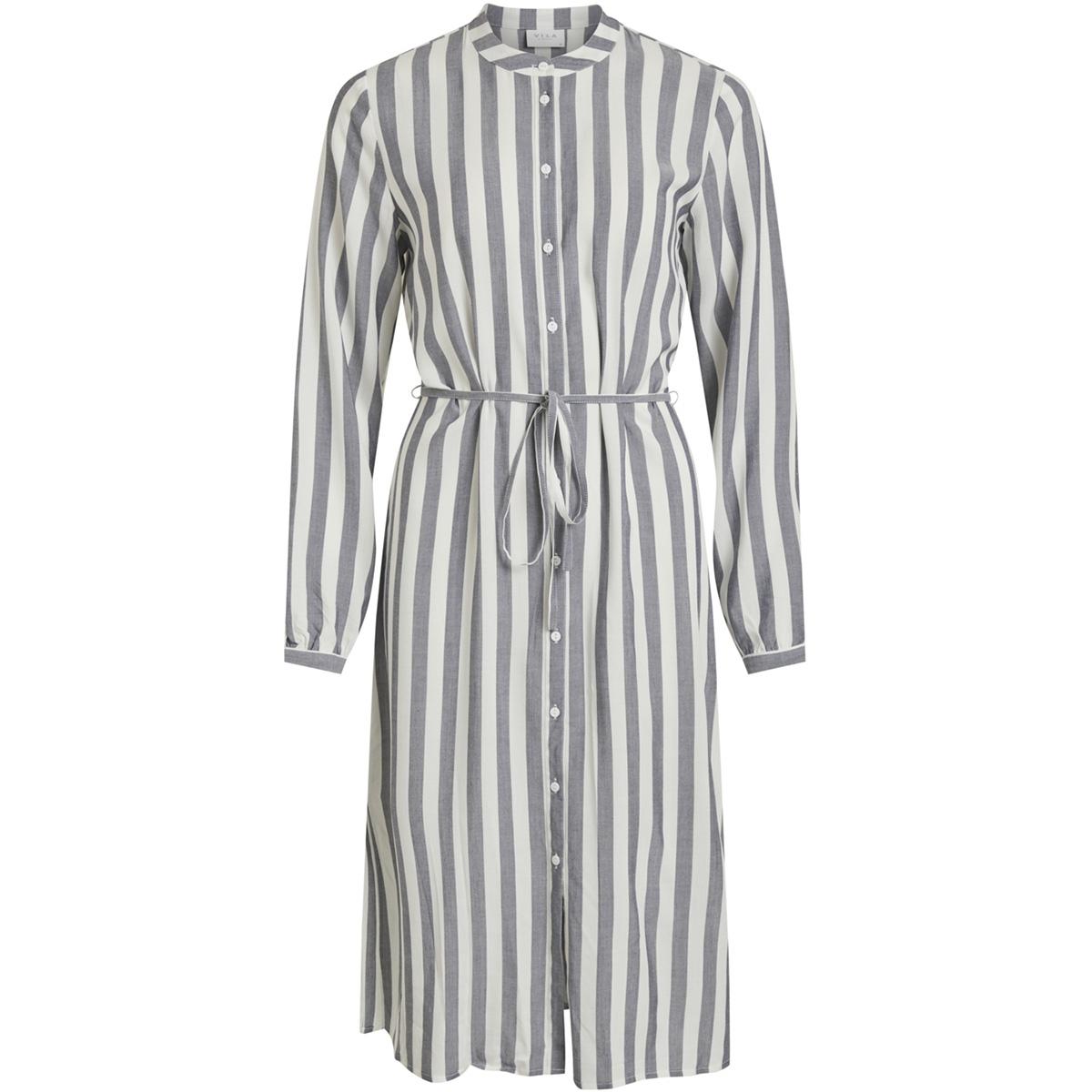 viharper l/s midi shirt dress 14052360 vila jurk navy blazer/cloud dancer