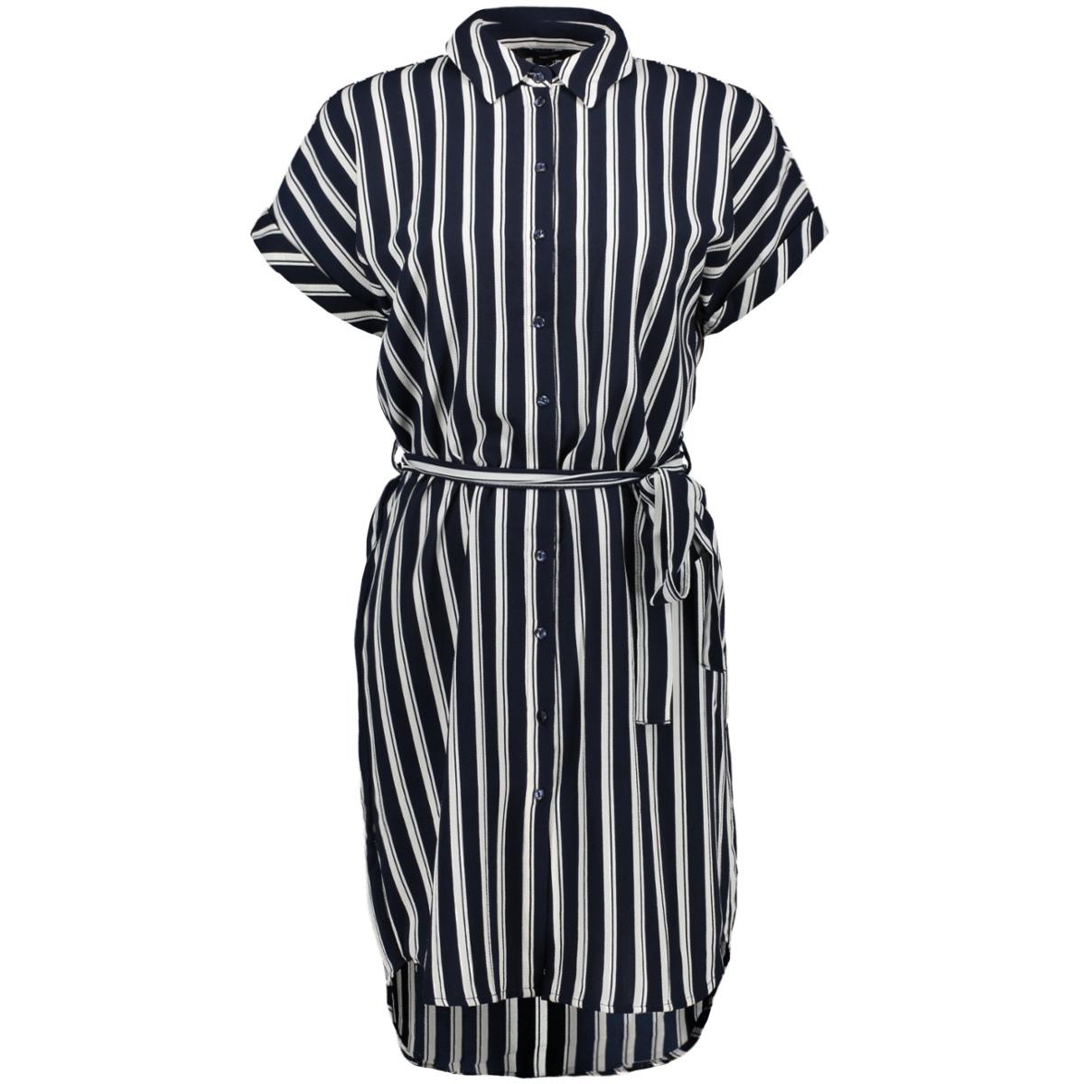 vmsasha shirt ss dress noos 10215359 vero moda jurk navy blazer/snow white