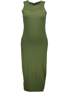 Superdry Jurk MAHI BODYCON DRESS G80095TQ SOFT KHAKI