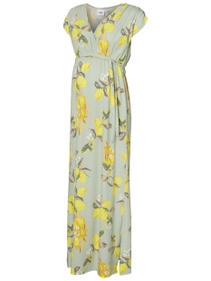 Mama-Licious Positie jurk MLLEMON S/S JERSEY MAXI DRESS A. V. 20009745 Frosty Green/LEMON