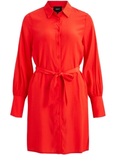 Object Jurk OBJDOTTEO L/S SHIRT DRESS A WI 23029439 Fiery Red