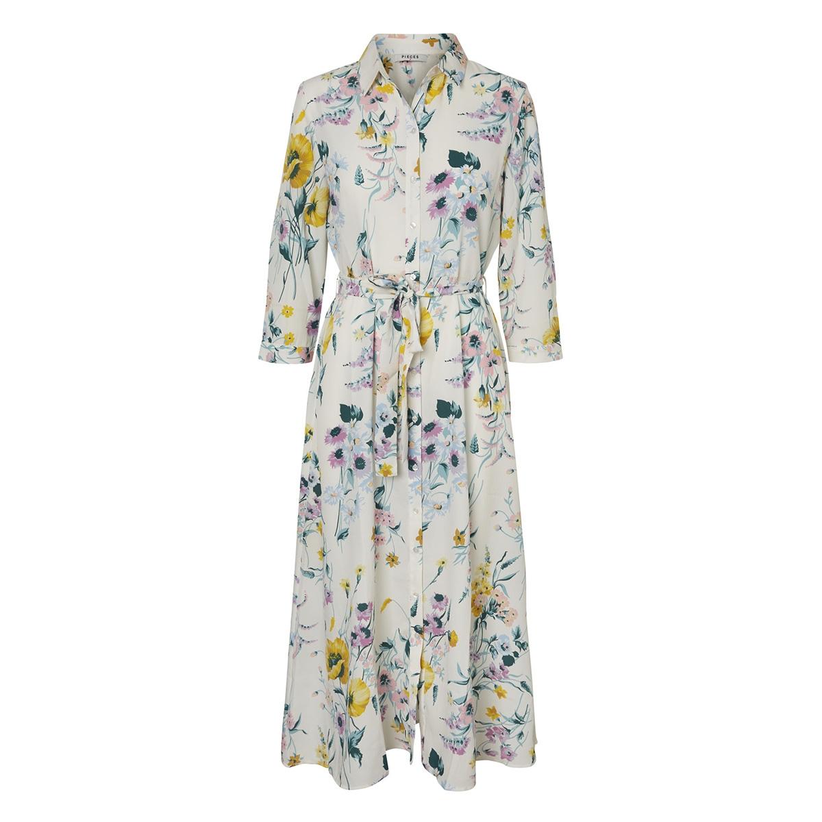 pcapril 3 4 ankle dress camp 17098310 pieces jurk cloud dancer/big flower