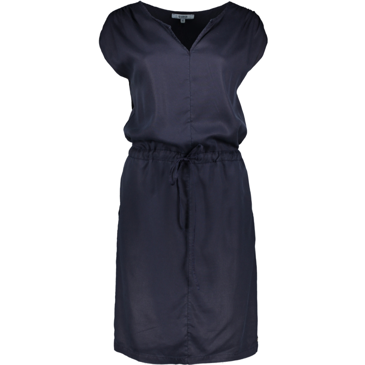 donkerblauw jurkje met taillekoord gs900382 garcia jurk 292 dark moon