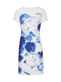 dress 19168 smashed lemon jurk white/cobalt
