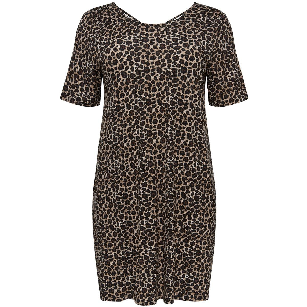 carbandana s/s dress 15161652 only carmakoma jurk black/leo
