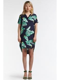 gebloemde jurk met streepdetail 23001550 sandwich jurk 40115