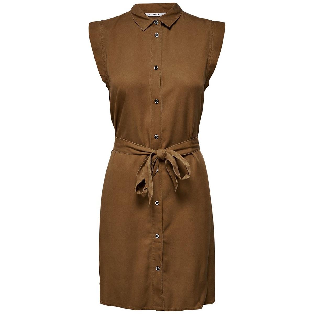 onlfchilli life sl shirt dress wvn 15180733 only jurk toffee