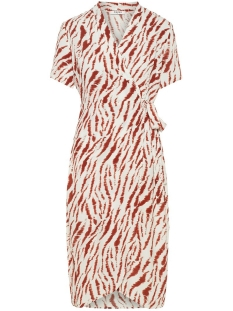 Pieces Jurk PCEYVA SS WRAP DRESS 17097721 Bright White/ZEBRA RED