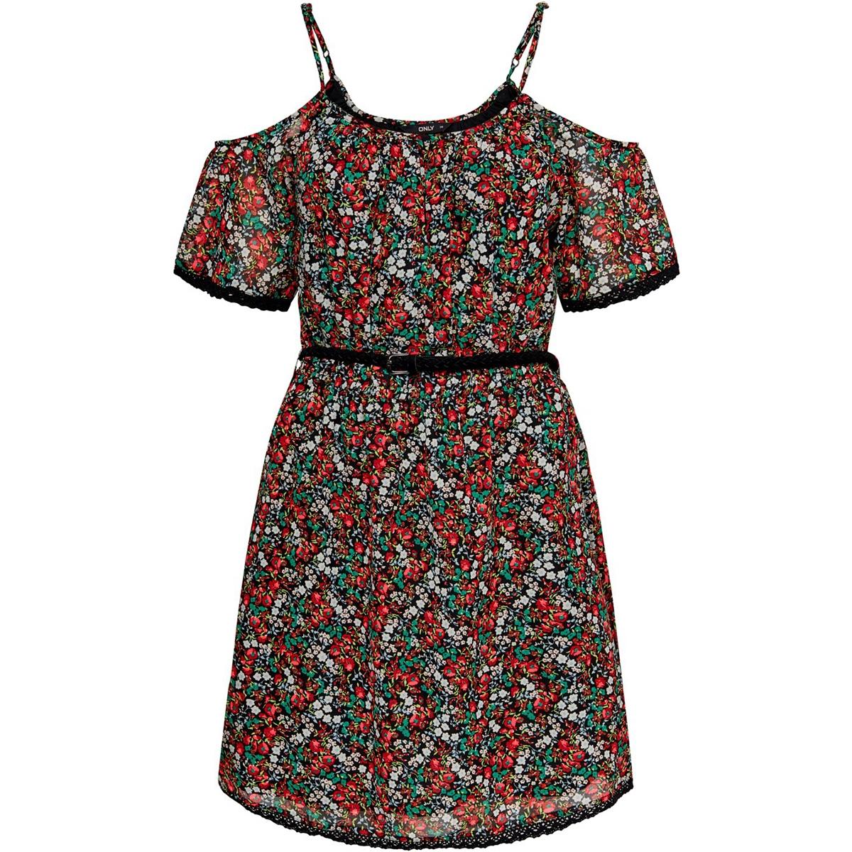 onlfmisha ss couldshoulder dress wv 15178879 only jurk black/neon summer