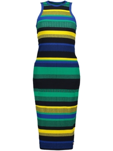Superdry Jurk STRIPE MIDI DRESS G80209SU BLUE YELLOW STRIPE