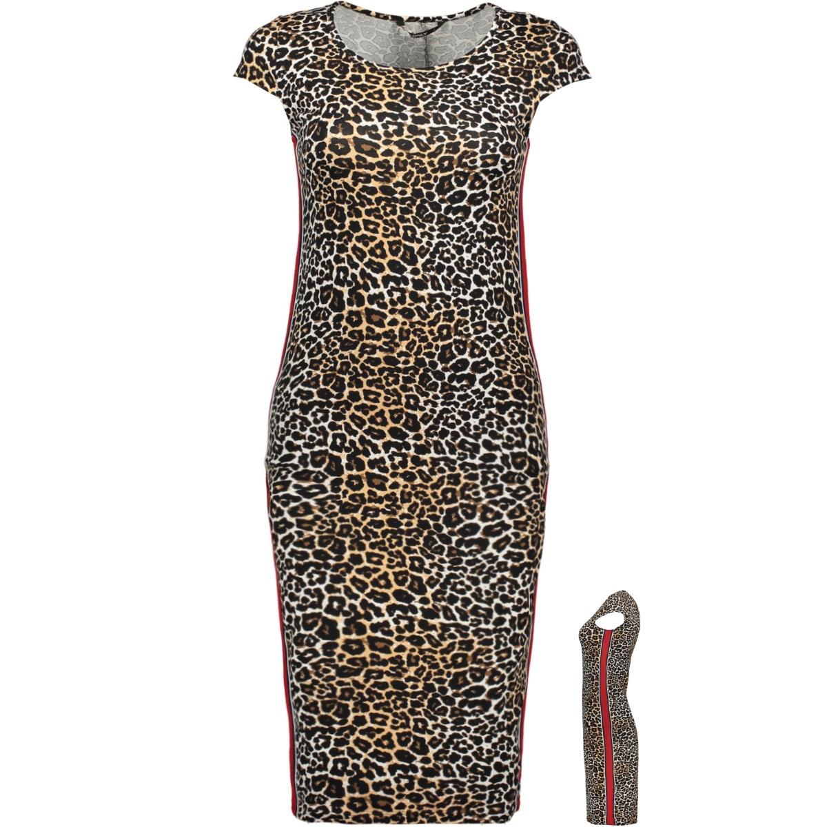 onlmallika capsleeve color dress jr 15188374 only jurk black/leo/ panel