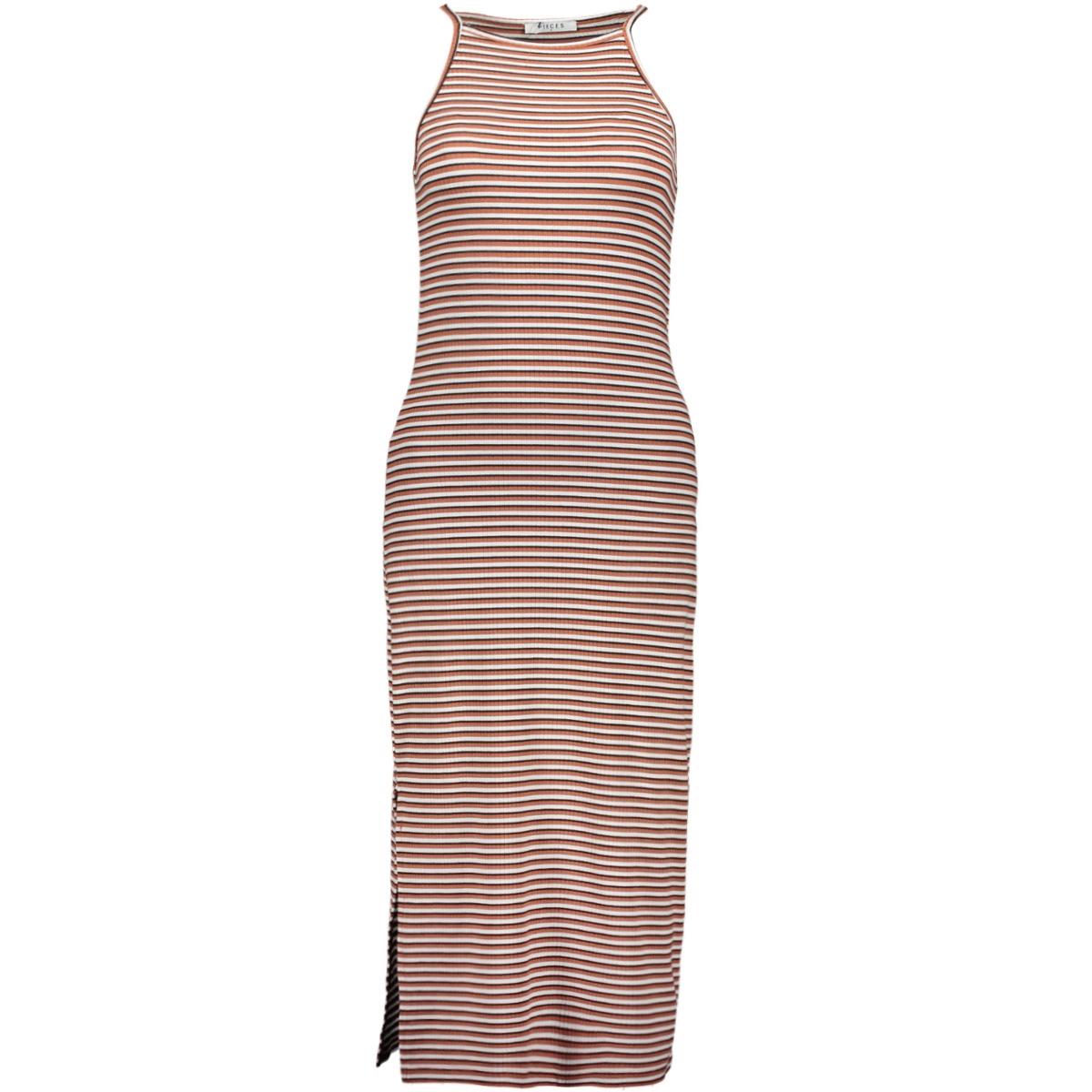 pcelena strap midi dress 17097465 pieces jurk bright white/redwood/ni