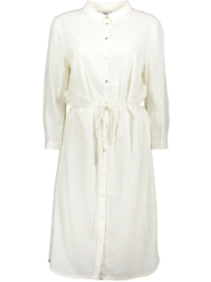 Saint Tropez Jurk WOVEN LINEN DRESS L/S T6191 1000 WHITE