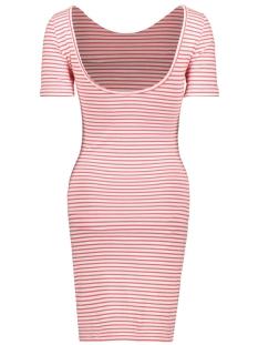 onlbella s/s deep dress jrs 15180991 only jurk cloud dancer/geranium
