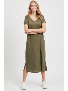 vinoel s/s v-neck medi dress/1 14055842 vila jurk ivy green