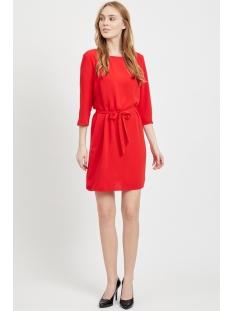 vilaia 3/4 sleeve dress 14053370 vila jurk racing red
